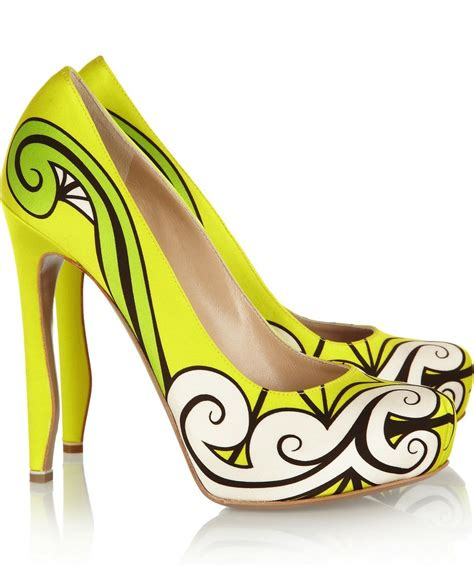 funky wedding shoes yellow lime black and white onewed