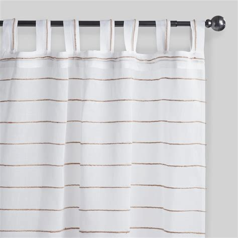 White Tab Top Curtains White Striped Jute Sahaj Tab Top Curtains Set Of 2 World