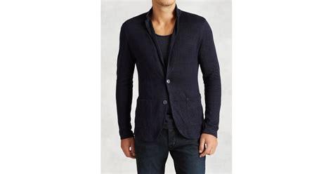 Sweater Blazer Cardigan Cotton Rajut 11 varvatos patch pocket sweater blazer in blue for lyst