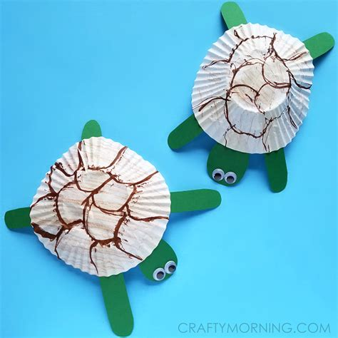 Turtle Paper Craft - cupcake liner turtle craft for crafty morning