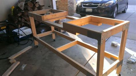 build miter saw bench workbench build with miter saw station from imgur com