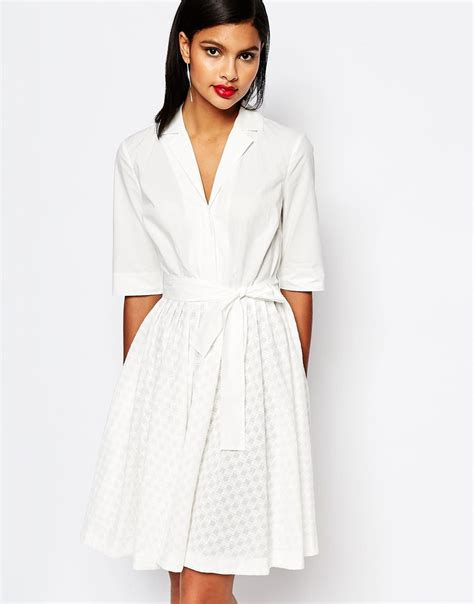 Flora Shirt White lyst connection geo flora shirt dress in broderie