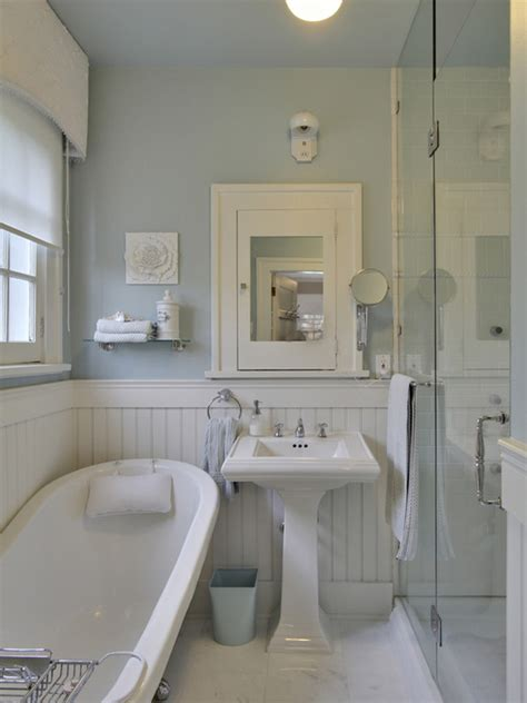 Beadboard Bathroom Ideas White Beadboard Bathroom Cottage Bathroom Benjamin Gossamer Blue