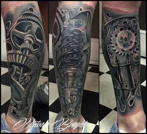 Biomechanical Gear Tattoo Sleeve | biomechanical gear calf tattoo by victoria boaghi