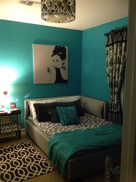 teal black white  gray bedroom  decoupaged