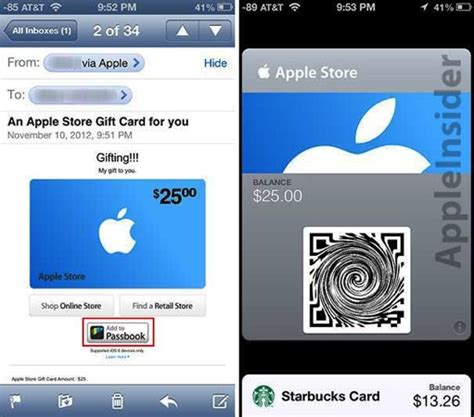 Gift Cards That Can Be Emailed - apple starts rolling out passbook enabled apple store gift cards