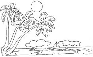 desenho palmeiras na beira da praia colorir tudodesenhos