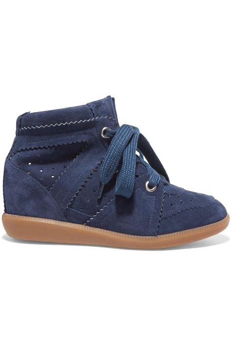 marant wedge sneakers marant 201 toile bobby suede wedge sneakers in blue