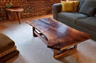 handmade live edge walnut slab coffee table by infusion