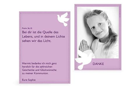 Vorlage Word Dankeskarte Dankeskarte Kommunion Quot Taube Quot