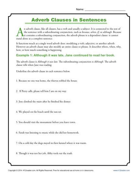 Adverb Clause Worksheet by Adverb Clauses In Sentences Clause Worksheets
