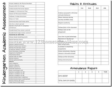 printable kindergarten report card free homeschool report cards