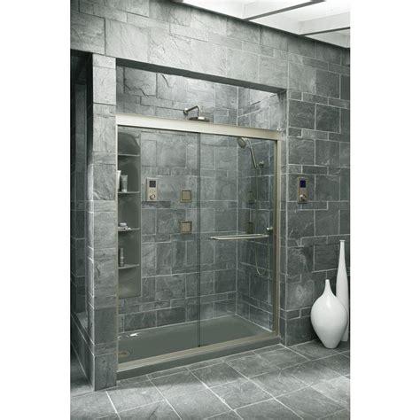 Sliding Glass Shower Door Kohler Fluence 59 5 8 In X 70 5 16 In Semi Frameless Sliding Shower Door In Brushed Nickel