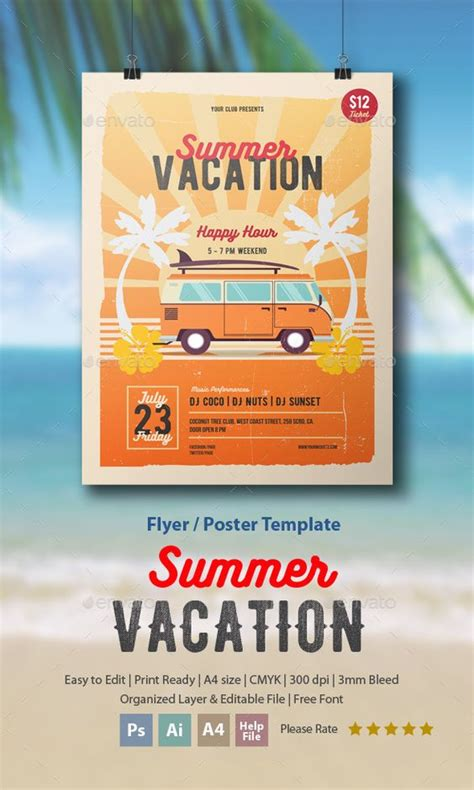 vacation flyer template summer vacation flyer poster summer vacations flyer