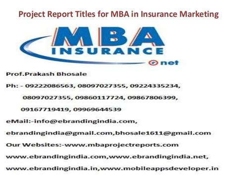 Executive Mba In Sales And Marketing by Project Report Titles For Mba In Insurance Marketing