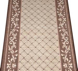 caramel scroll border carpet runner purchase by the