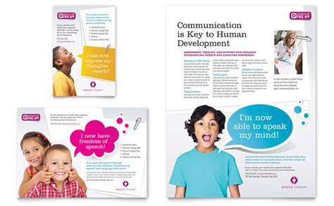 Therapy Brochure Templates by Speech Therapy Education Flyer Ad Template Design