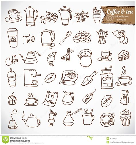 how to use doodle to set up a meeting dooodle coffee and tea c icon set stock images image