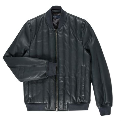 Mens Leather Quilted Bomber Jacket by Paul Smith S Slate Grey Quilted Leather Bomber Jacket