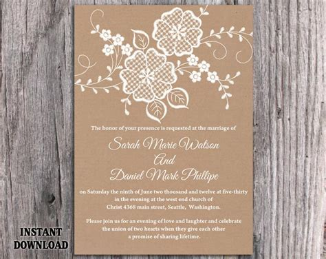 vintage templates for word diy lace wedding invitation template editable word file