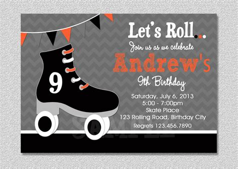 Skating Birthday Card Template by Boys Skating Birthday Invitation Boys Roller Skating