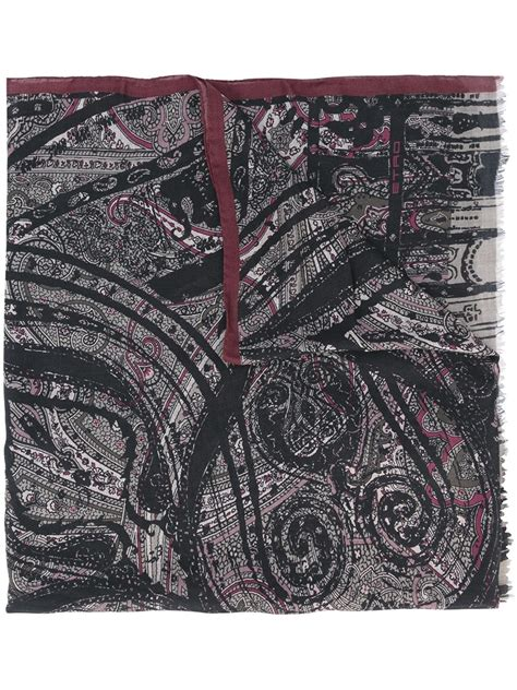 black pattern scarf etro paisley pattern scarf in black for men lyst
