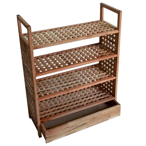 4 tier shoe rack wood new 4 tier walnut wooden shoe rack storage shelf with integrated bottom draw ebay