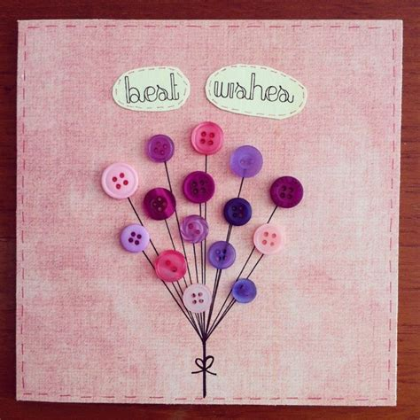 Handmade Best Wishes Cards - handmade greeting card button balloons best wishes 163 3