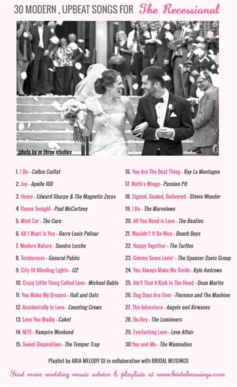 Wedding Song List by Wedding 30 Modern Upbeat Recessional Songs