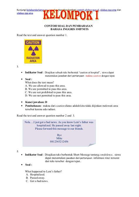 letter bahasa inggris smp contoh soal un bahasa inggris smp paket 4