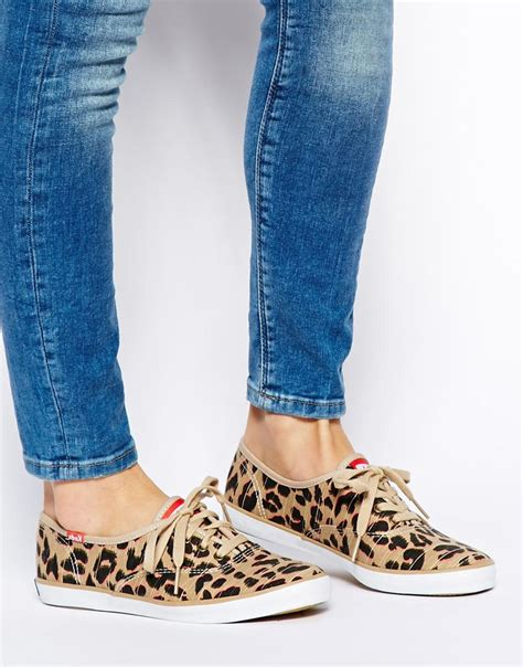 keds leopard sneakers keds chion leopard plimsoll trainers lyst
