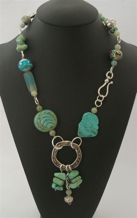 Semi Precious Handmade Jewelry - turquoise necklace beaded handmade semi precious jewelry
