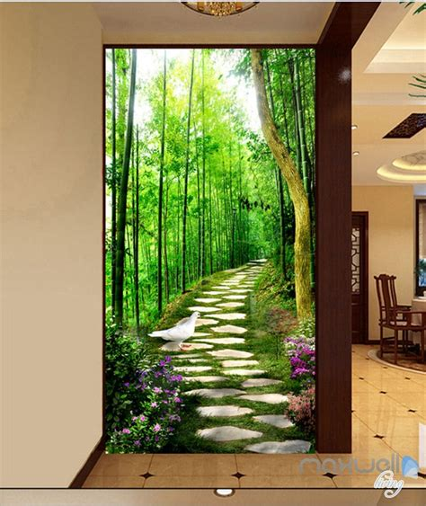bird forest lane corridor entrance wall mural decals