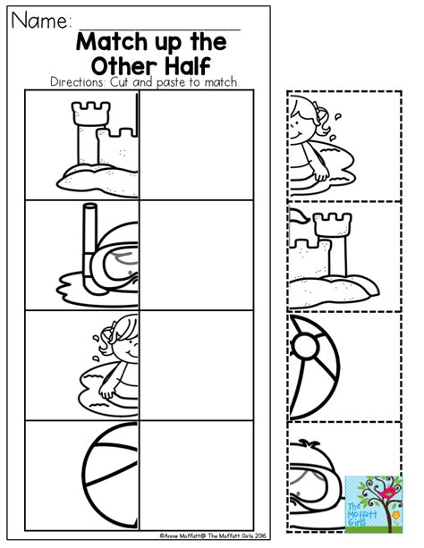 summer cut and paste worksheets match up the other half cut and paste to match the