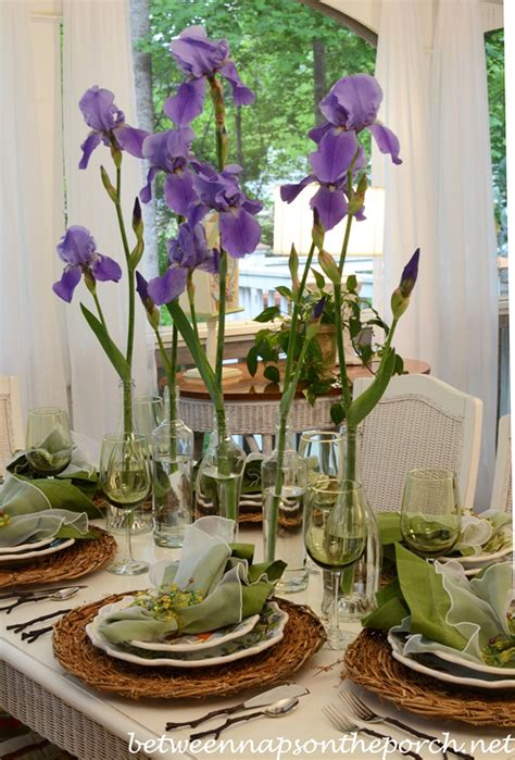 Twig Decor Spring Table Setting With Iris Centerpiece Twig Chargers