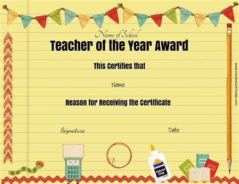 free certificate templates for teachers free awards