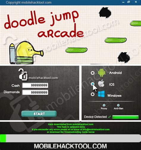 doodle jump hack cheats  files  tools  ios android pc games