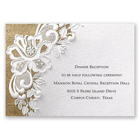 detailed wedding reception card template lacy reception card invitations by