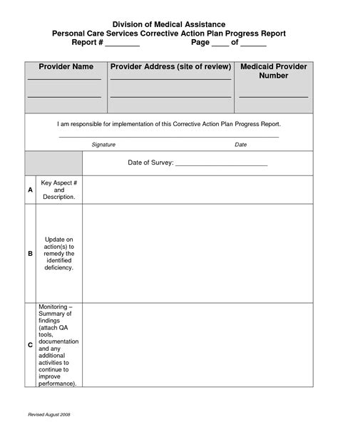 corrective report template corrective plan template free free business template