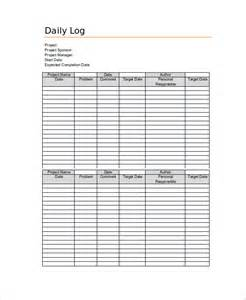Daily Log Sheet Template Free by Daily Log Template 09 Free Word Excel Pdf Documents