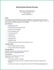 Banking Resume Exles Sles 9 Bank Entry Level Cv Exles Applicationsformat Info