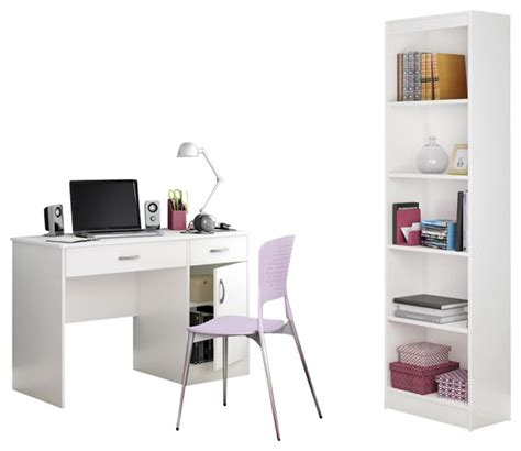 Narrow White Desk by South Shore Axess 2 Office Set With Narrow Bookcase
