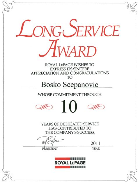 10 year service award certificate template certificate templates for service award choice image