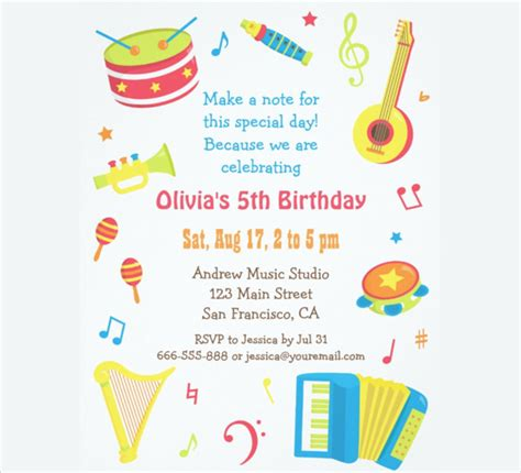 birthday party invitation template word 30 kids birthday