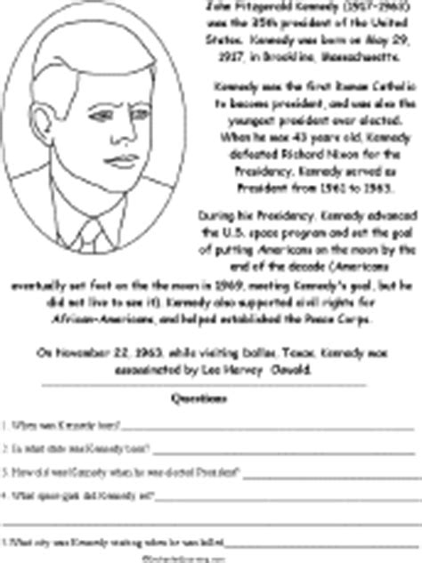 biography of john f kennedy short printable worksheets on americans in history