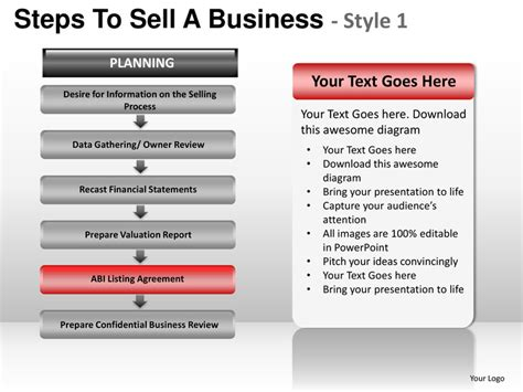 steps to sell a business style 1 powerpoint presentation