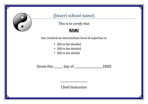 martial certificate templates free martial arts award certificate template in word and pdf