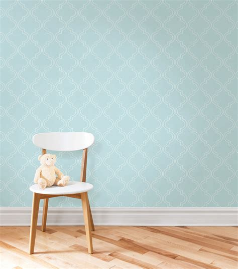 peel and stick wallpaper wallpops 174 nuwallpaper blue quatrefoil peel and stick