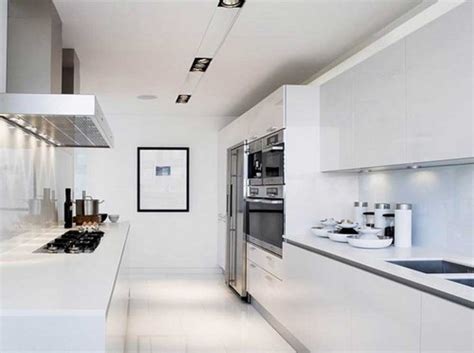 contemporary white galley kitchen designs ideas home