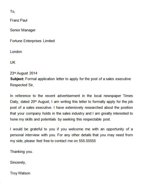 Formal Letter Application Exle 9 formal letters
